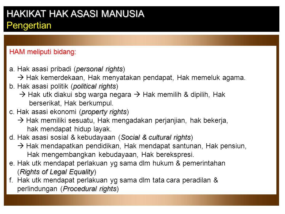 HAKIKAT HAK ASASI MANUSIA Pengertian HAM meliputi bidang: personal rights a. Hak asasi pribadi (personal rights)  Hak kemerdekaan, Hak menyatakan pen