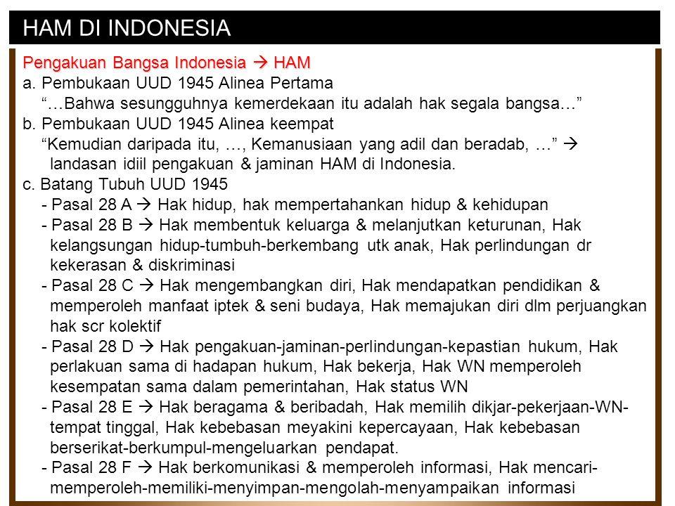 """HAM DI INDONESIA Pengakuan Bangsa Indonesia  HAM a. Pembukaan UUD 1945 Alinea Pertama """"…Bahwa sesungguhnya kemerdekaan itu adalah hak segala bangsa…"""""""