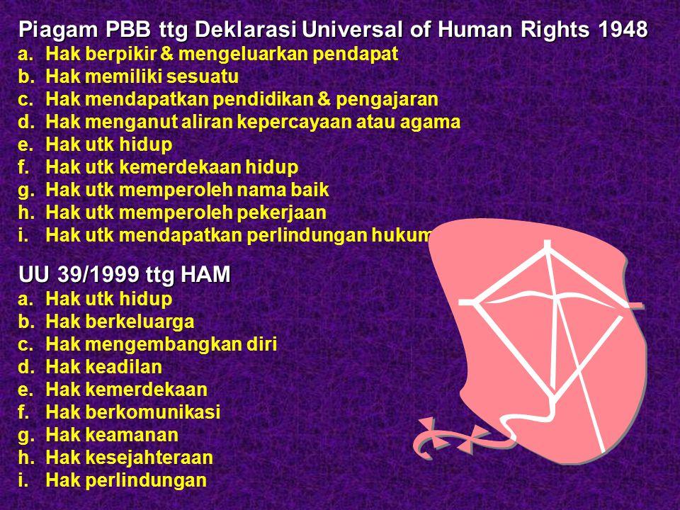 Piagam PBB ttg Deklarasi Universal of Human Rights 1948 a. Hak berpikir & mengeluarkan pendapat b. Hak memiliki sesuatu c. Hak mendapatkan pendidikan