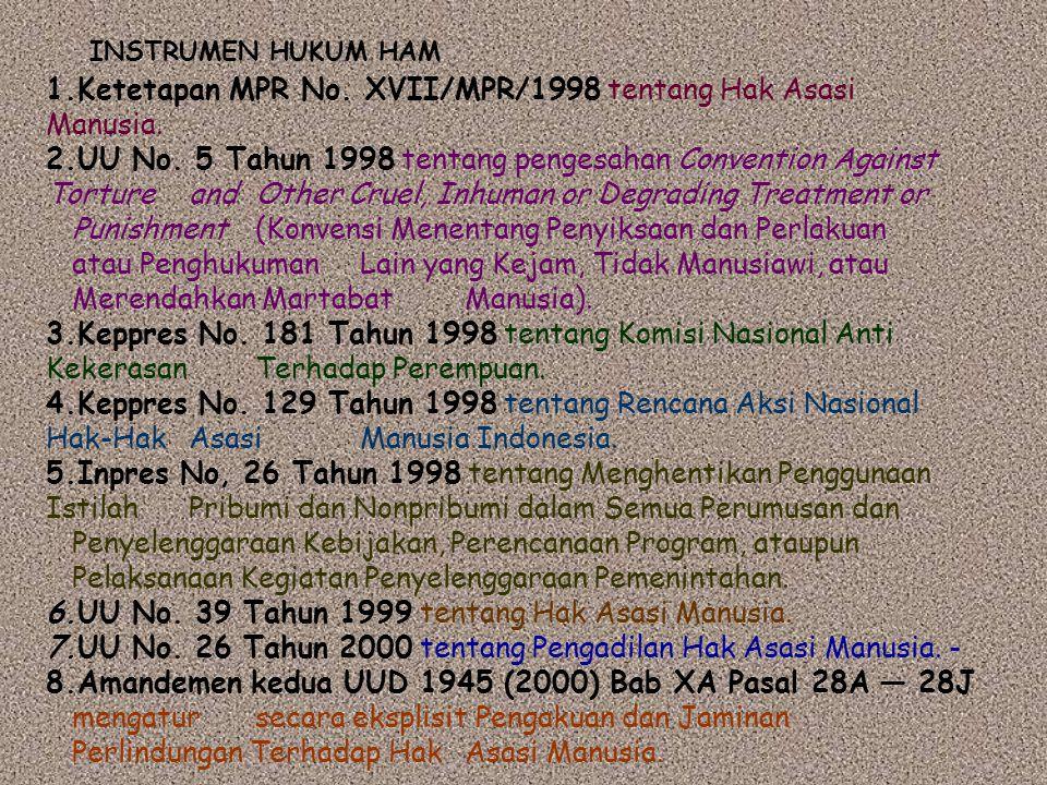 1.Ketetapan MPR No. XVII/MPR/1998 tentang Hak Asasi Manusia. 2.UU No. 5 Tahun 1998 tentang pengesahan Convention Against Torture and Other Cruel, Inhu