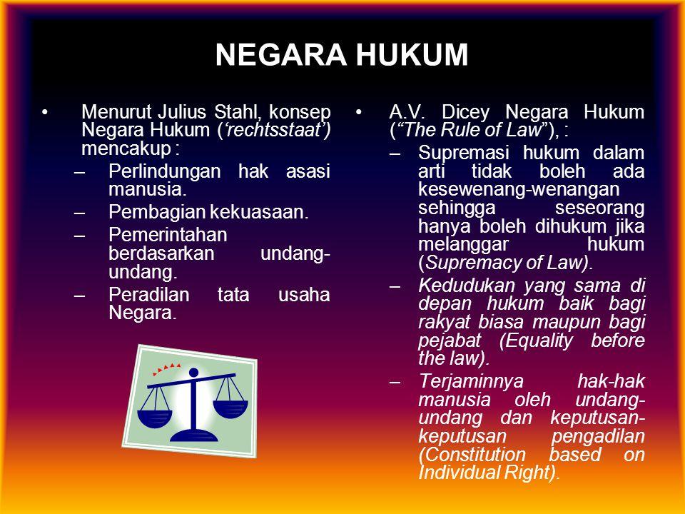 NEGARA HUKUM Menurut Julius Stahl, konsep Negara Hukum ('rechtsstaat') mencakup : –Perlindungan hak asasi manusia. –Pembagian kekuasaan. –Pemerintahan