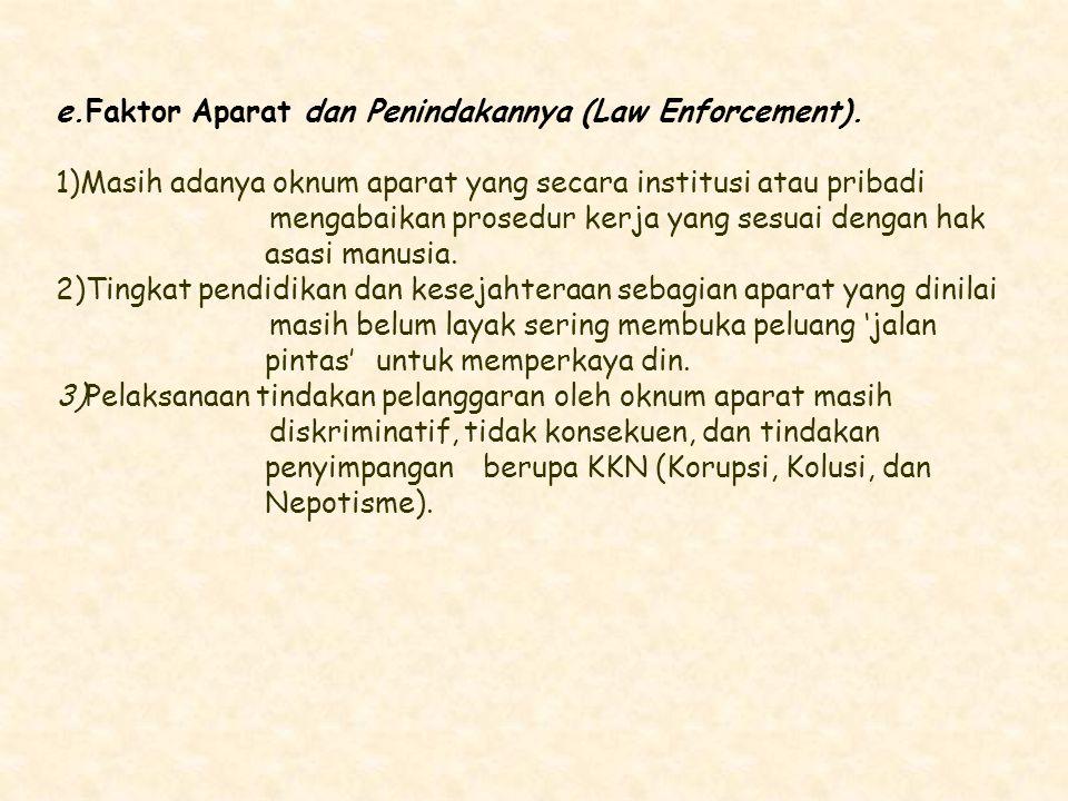 e.Faktor Aparat dan Penindakannya (Law Enforcement).