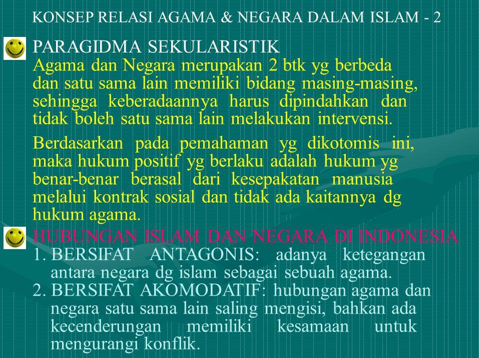 KONSEP RELASI AGAMA & NEGARA DALAM ISLAM - 2 PARAGIDMA SEKULARISTIK Agama dan Negara merupakan 2 btk yg berbeda dan satu sama lain memiliki bidang mas