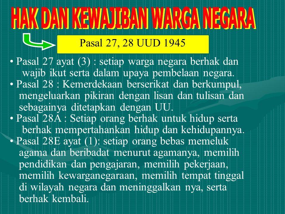 Pasal 27, 28 UUD 1945 Pasal 27 ayat (3) : setiap warga negara berhak dan wajib ikut serta dalam upaya pembelaan negara. Pasal 28 : Kemerdekaan berseri
