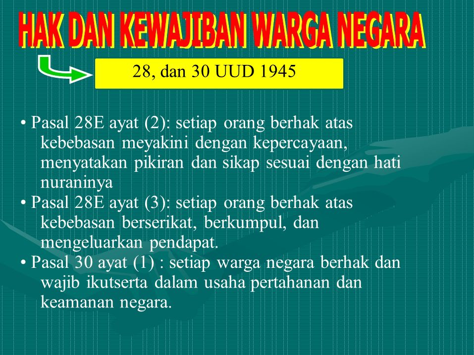 28, dan 30 UUD 1945 Pasal 28E ayat (2): setiap orang berhak atas kebebasan meyakini dengan kepercayaan, menyatakan pikiran dan sikap sesuai dengan hat