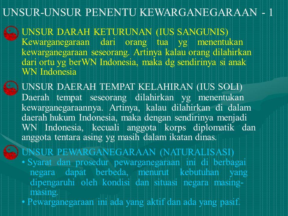 UNSUR-UNSUR PENENTU KEWARGANEGARAAN - 1 UNSUR DARAH KETURUNAN (IUS SANGUNIS) Kewarganegaraan dari orang tua yg menentukan kewarganegaraan seseorang. A