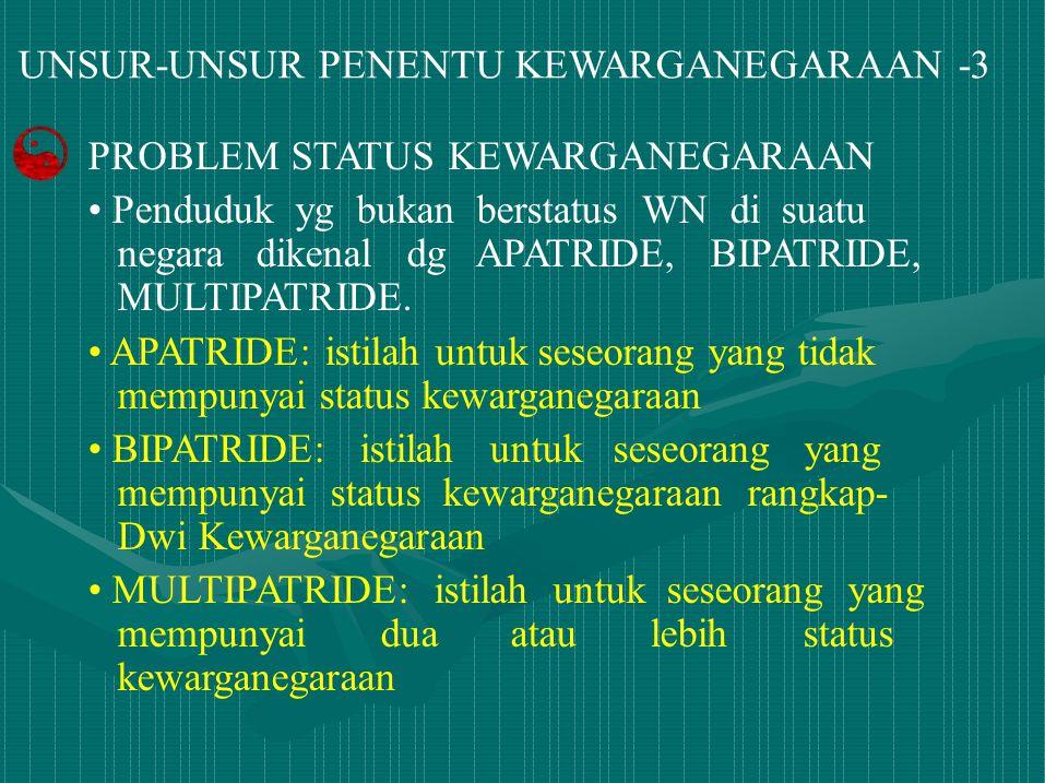 UNSUR-UNSUR PENENTU KEWARGANEGARAAN -3 PROBLEM STATUS KEWARGANEGARAAN Penduduk yg bukan berstatus WN di suatu negara dikenal dg APATRIDE, BIPATRIDE, M