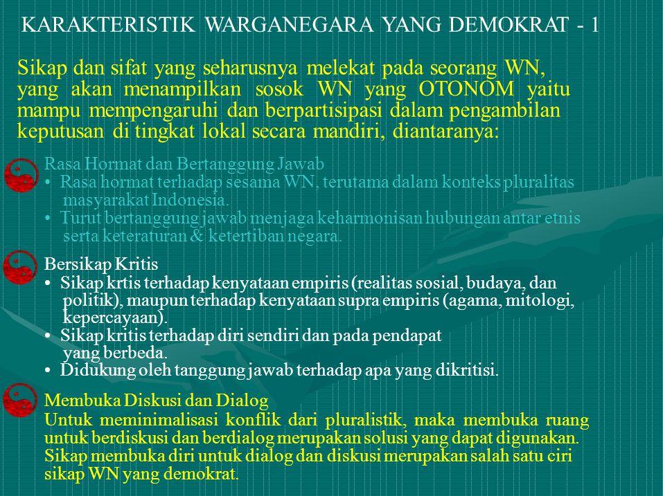 KARAKTERISTIK WARGANEGARA YANG DEMOKRAT - 1 Rasa Hormat dan Bertanggung Jawab Rasa hormat terhadap sesama WN, terutama dalam konteks pluralitas masyar
