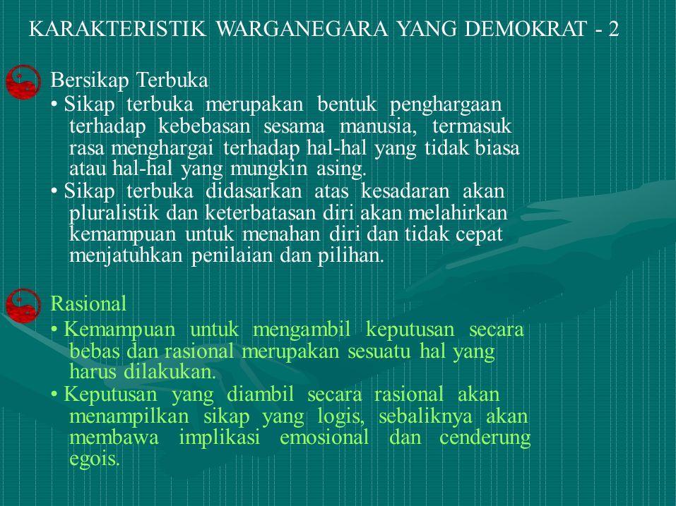 KARAKTERISTIK WARGANEGARA YANG DEMOKRAT - 2 Bersikap Terbuka Sikap terbuka merupakan bentuk penghargaan terhadap kebebasan sesama manusia, termasuk ra