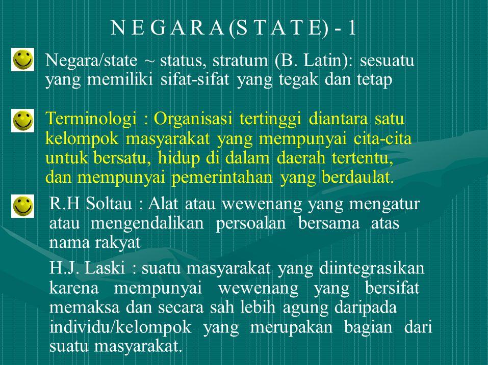 N E G A R A (S T A T E) - 1 Negara/state ~ status, stratum (B. Latin): sesuatu yang memiliki sifat-sifat yang tegak dan tetap Terminologi : Organisasi