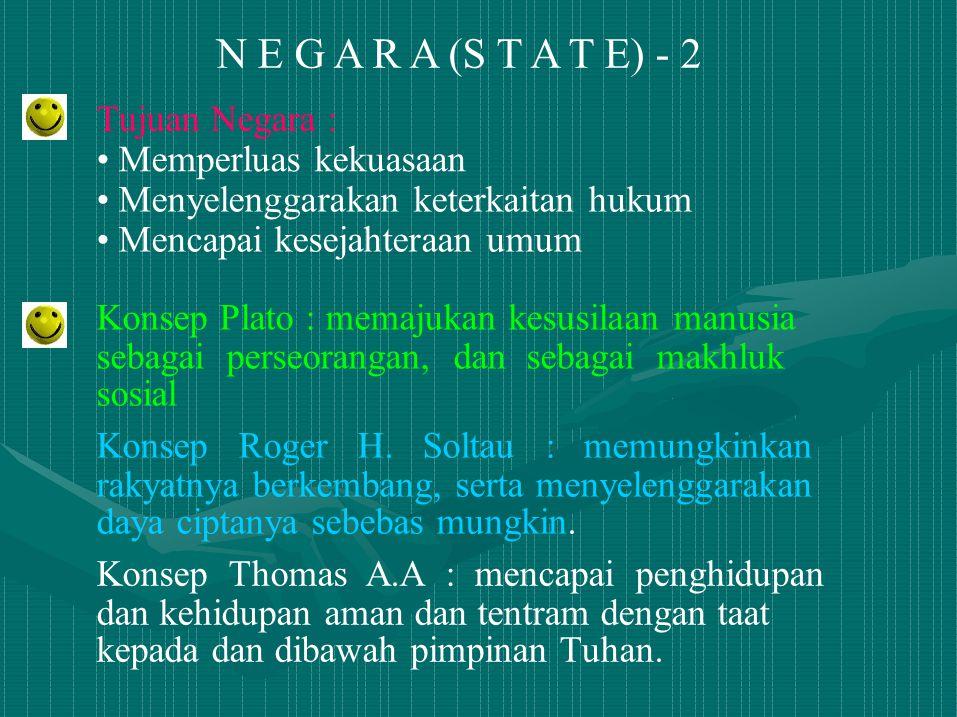 N E G A R A (S T A T E) - 2 Tujuan Negara : Memperluas kekuasaan Menyelenggarakan keterkaitan hukum Mencapai kesejahteraan umum Konsep Plato : memajuk