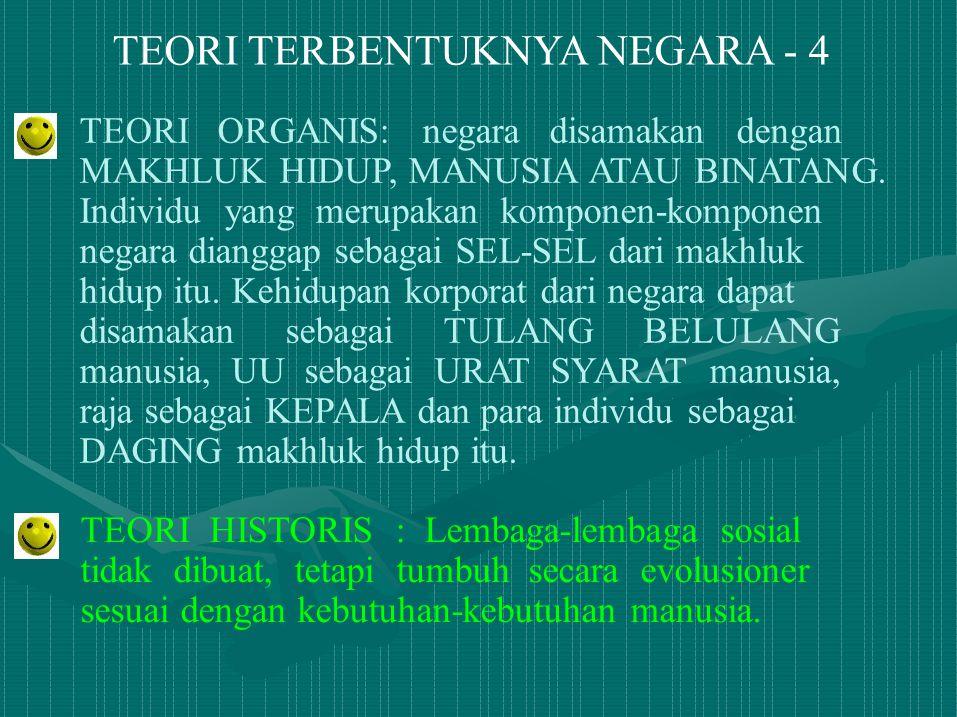TEORI TERBENTUKNYA NEGARA - 4 TEORI ORGANIS: negara disamakan dengan MAKHLUK HIDUP, MANUSIA ATAU BINATANG. Individu yang merupakan komponen-komponen n