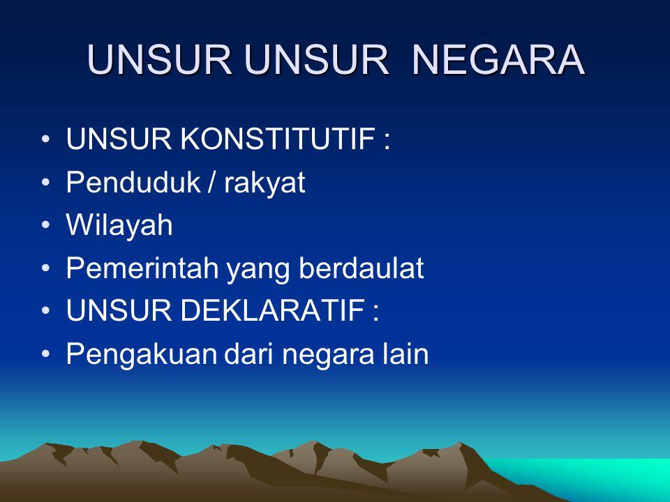 UNSUR UNSUR NEGARA UNSUR KONSTITUTIF : Penduduk / rakyat Wilayah Pemerintah yang berdaulat UNSUR DEKLARATIF : Pengakuan dari negara lain