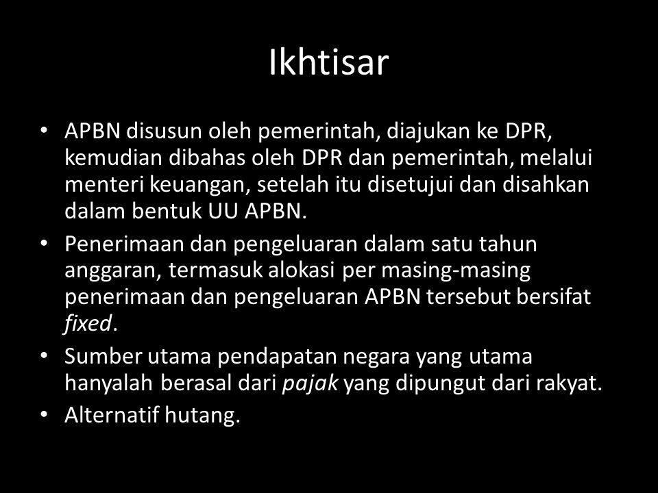 Ikhtisar APBN disusun oleh pemerintah, diajukan ke DPR, kemudian dibahas oleh DPR dan pemerintah, melalui menteri keuangan, setelah itu disetujui dan