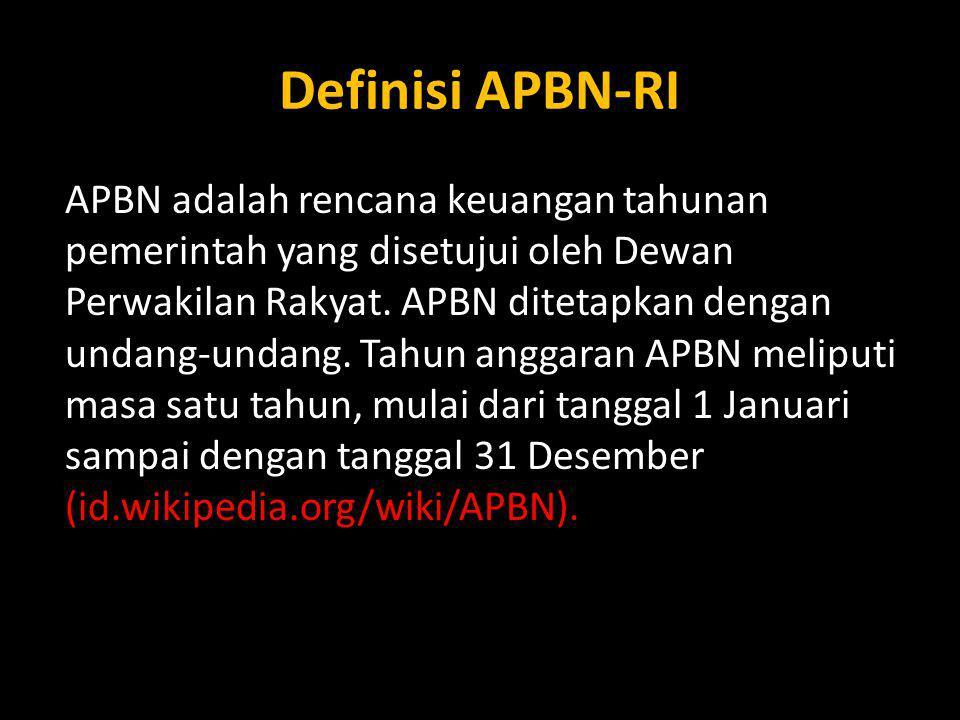 Definisi APBN-RI APBN adalah rencana keuangan tahunan pemerintah yang disetujui oleh Dewan Perwakilan Rakyat. APBN ditetapkan dengan undang-undang. Ta