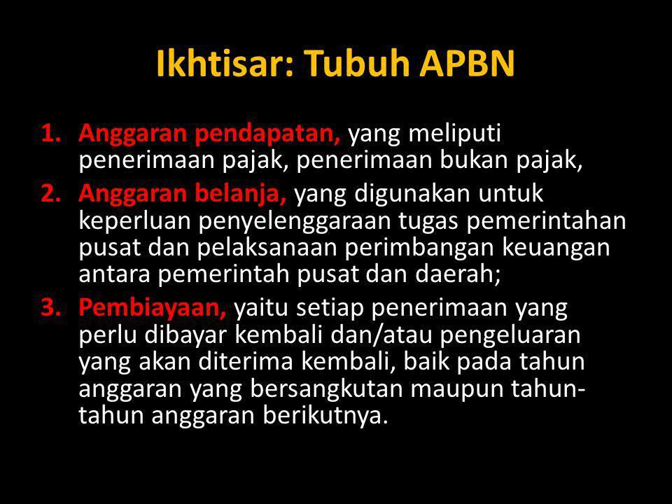 Ikhtisar: Tubuh APBN 1.Anggaran pendapatan, yang meliputi penerimaan pajak, penerimaan bukan pajak, 2.Anggaran belanja, yang digunakan untuk keperluan