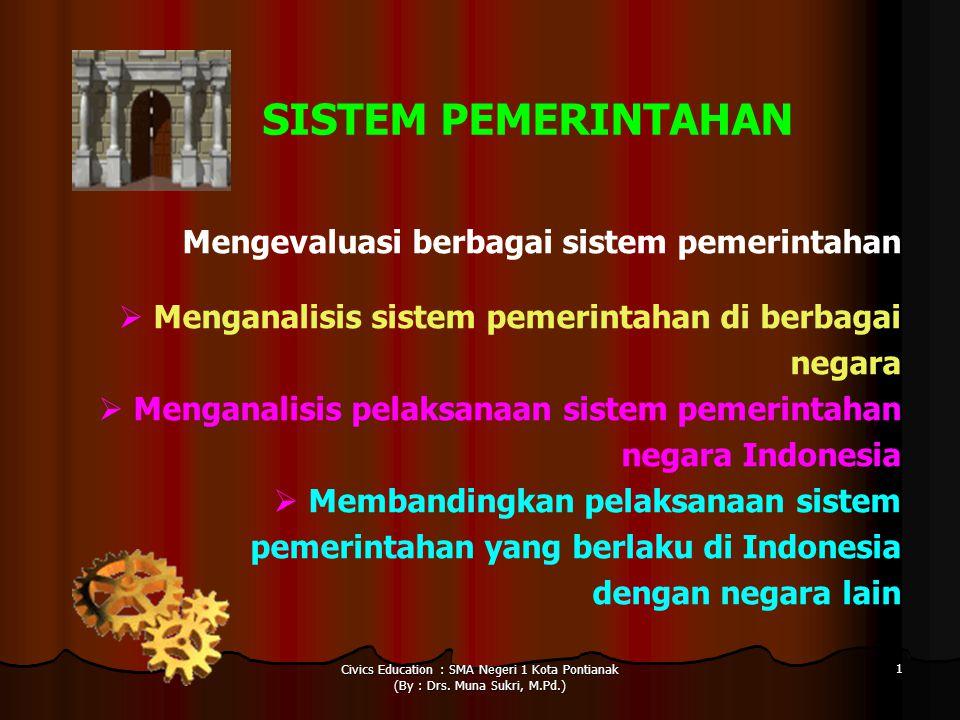 Civics Education : SMA Negeri 1 Kota Pontianak (By : Drs. Muna Sukri, M.Pd.) 1 SISTEM PEMERINTAHAN Mengevaluasi berbagai sistem pemerintahan  Mengana