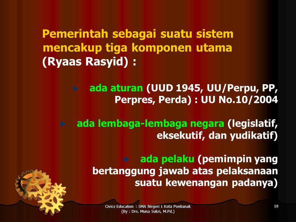 Civics Education : SMA Negeri 1 Kota Pontianak (By : Drs. Muna Sukri, M.Pd.) 10 Pemerintah sebagai suatu sistem mencakup tiga komponen utama (Ryaas Ra