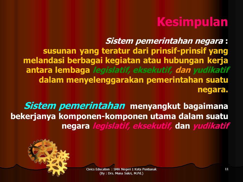 Civics Education : SMA Negeri 1 Kota Pontianak (By : Drs. Muna Sukri, M.Pd.) 11 Kesimpulan Sistem pemerintahan negara : susunan yang teratur dari prin