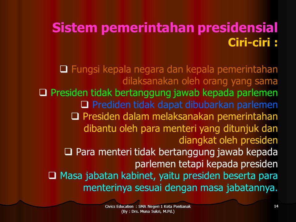 Civics Education : SMA Negeri 1 Kota Pontianak (By : Drs. Muna Sukri, M.Pd.) 14 Sistem pemerintahan presidensial Ciri-ciri :  Fungsi kepala negara da