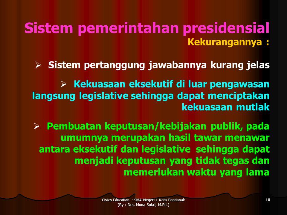 Civics Education : SMA Negeri 1 Kota Pontianak (By : Drs. Muna Sukri, M.Pd.) 16 Sistem pemerintahan presidensial Kekurangannya :  Sistem pertanggung