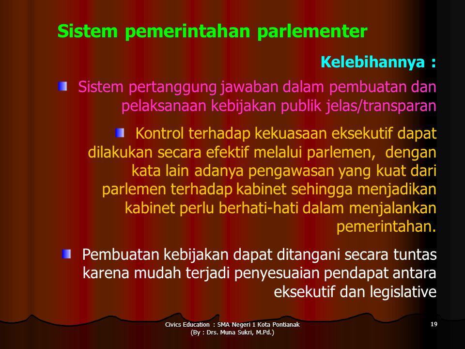 Civics Education : SMA Negeri 1 Kota Pontianak (By : Drs. Muna Sukri, M.Pd.) 19 Sistem pemerintahan parlementer Kelebihannya : Sistem pertanggung jawa