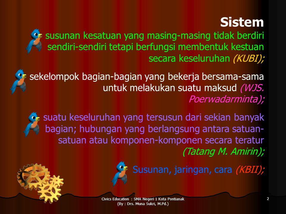 Civics Education : SMA Negeri 1 Kota Pontianak (By : Drs. Muna Sukri, M.Pd.) 2 Sistem susunan kesatuan yang masing-masing tidak berdiri sendiri-sendir