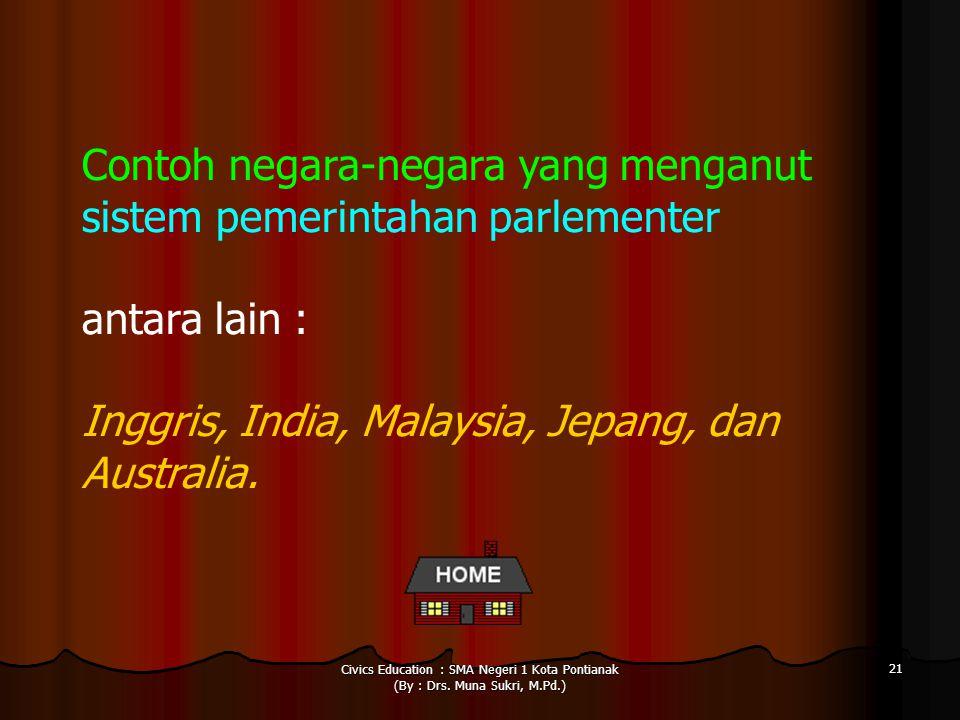Civics Education : SMA Negeri 1 Kota Pontianak (By : Drs. Muna Sukri, M.Pd.) 21 Contoh negara-negara yang menganut sistem pemerintahan parlementer ant