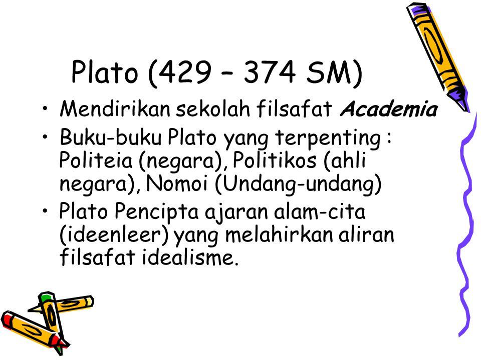 Plato (429 – 374 SM) Mendirikan sekolah filsafat Academia Buku-buku Plato yang terpenting : Politeia (negara), Politikos (ahli negara), Nomoi (Undang-