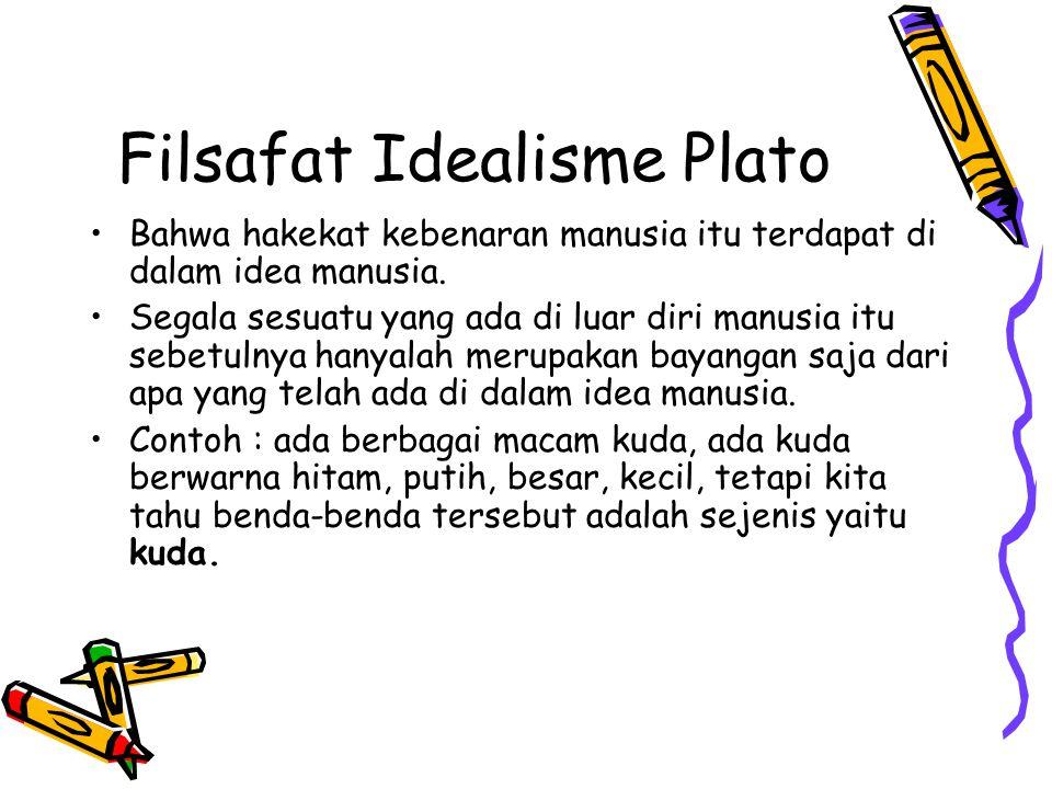 Filsafat Idealisme Plato Bahwa hakekat kebenaran manusia itu terdapat di dalam idea manusia. Segala sesuatu yang ada di luar diri manusia itu sebetuln