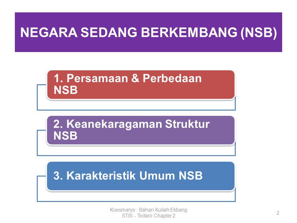 2 NEGARA SEDANG BERKEMBANG (NSB) Koesmaryo : Bahan Kuliah Ekbang STIS - Todaro Chapter 2 1. Persamaan & Perbedaan NSB 2. Keanekaragaman Struktur NSB 3