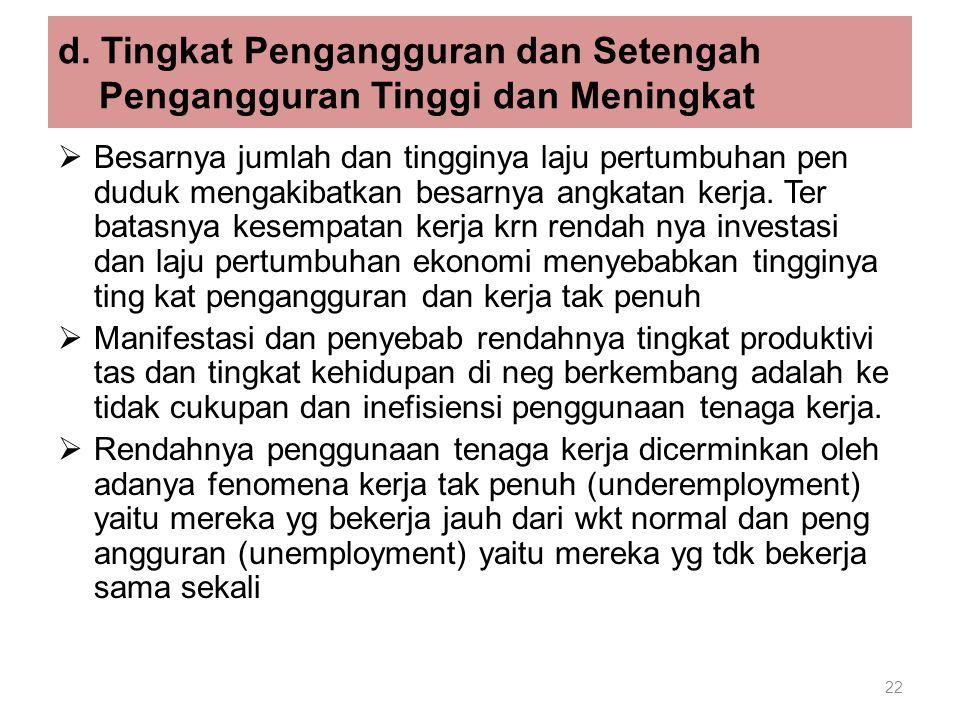 22 d. Tingkat Pengangguran dan Setengah Pengangguran Tinggi dan Meningkat  Besarnya jumlah dan tingginya laju pertumbuhan pen duduk mengakibatkan bes