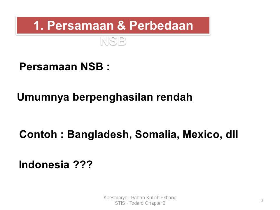 3 Koesmaryo : Bahan Kuliah Ekbang STIS - Todaro Chapter 2 1. Persamaan & Perbedaan NSB Persamaan NSB : Umumnya berpenghasilan rendah Contoh : Banglade