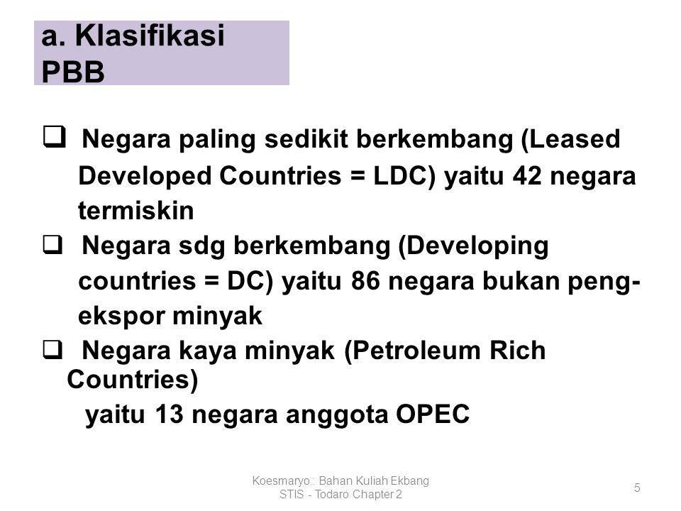 5 a. Klasifikasi PBB  Negara paling sedikit berkembang (Leased Developed Countries = LDC) yaitu 42 negara termiskin  Negara sdg berkembang (Developi