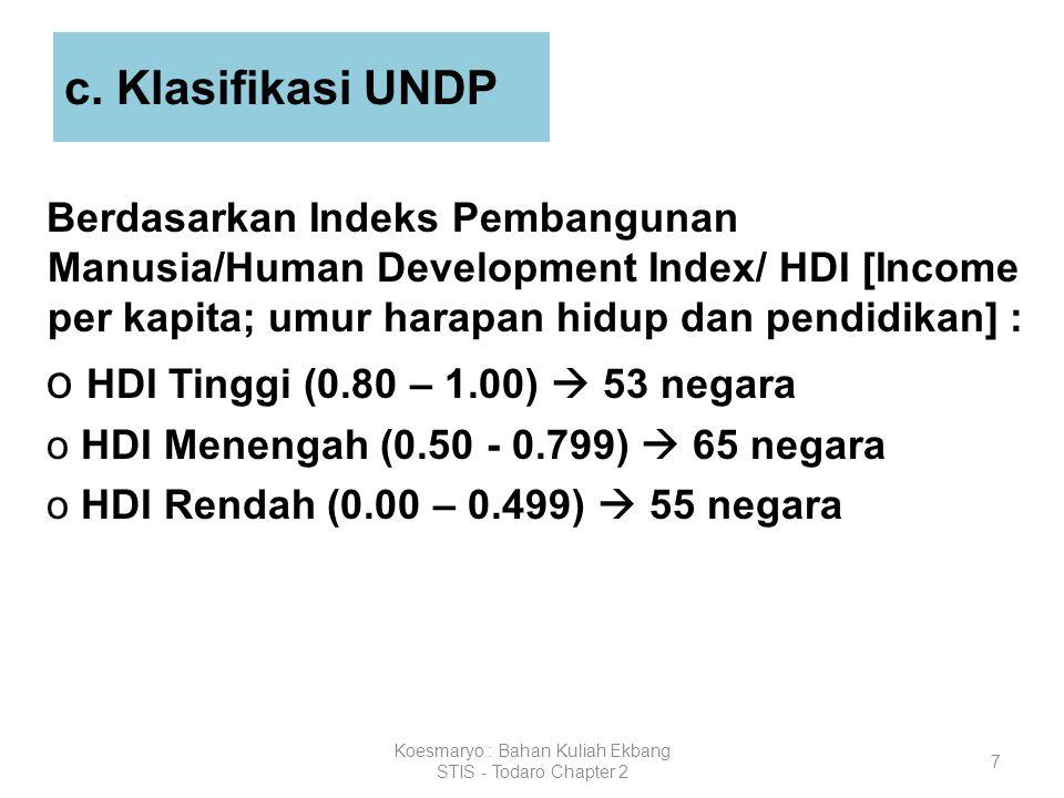 7 c. Klasifikasi UNDP Berdasarkan Indeks Pembangunan Manusia/Human Development Index/ HDI [Income per kapita; umur harapan hidup dan pendidikan] : o H