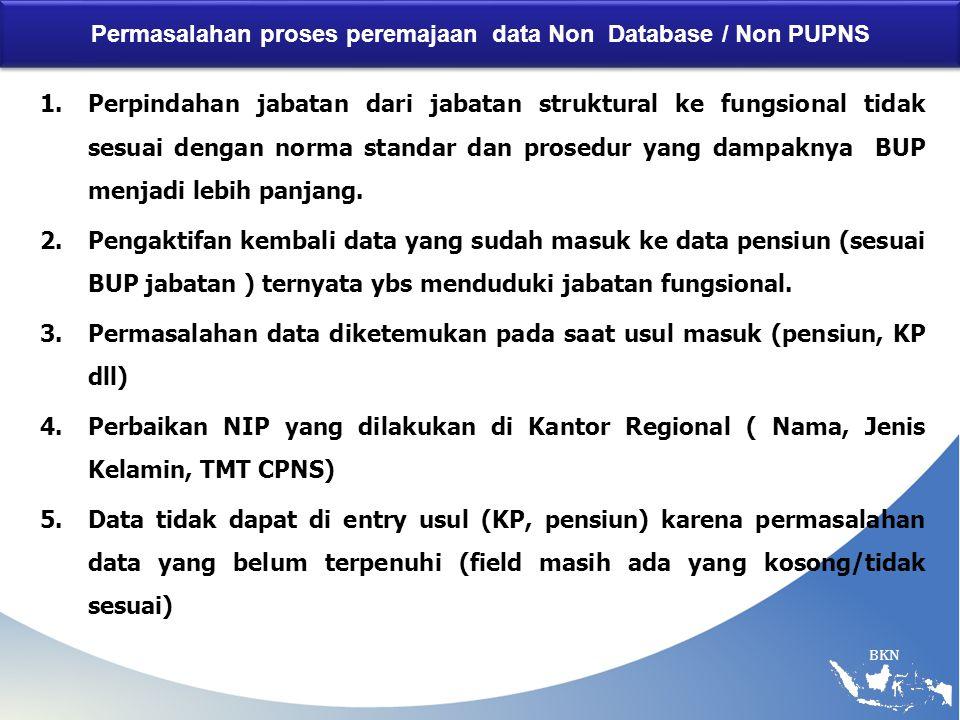 BKN Permasalahan proses peremajaan data Non Database / Non PUPNS 1.Perpindahan jabatan dari jabatan struktural ke fungsional tidak sesuai dengan norma standar dan prosedur yang dampaknya BUP menjadi lebih panjang.