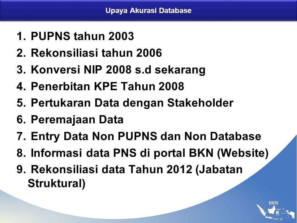 BKN Upaya Akurasi Database 1. PUPNS tahun 2003 2. Rekonsiliasi tahun 2006 3. Konversi NIP 2008 s.d sekarang 4. Penerbitan KPE Tahun 2008 5. Pertukaran