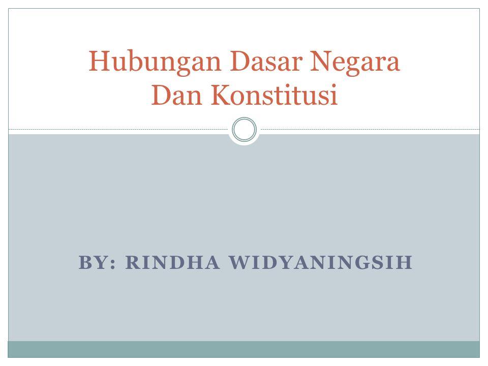 BY: RINDHA WIDYANINGSIH Hubungan Dasar Negara Dan Konstitusi
