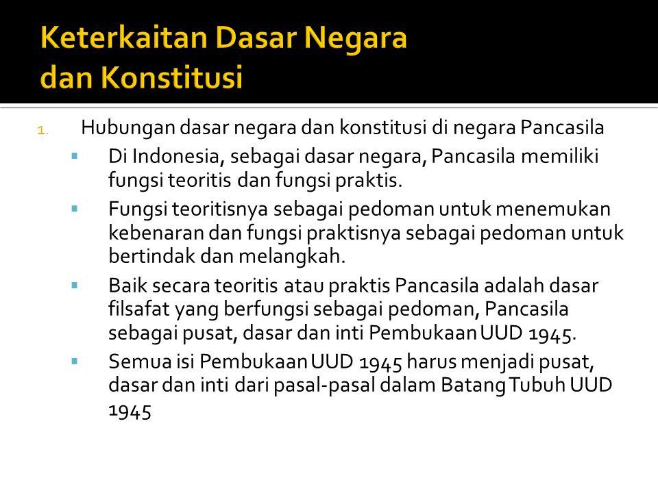 1. Hubungan dasar negara dan konstitusi di negara Pancasila  Di Indonesia, sebagai dasar negara, Pancasila memiliki fungsi teoritis dan fungsi prakti