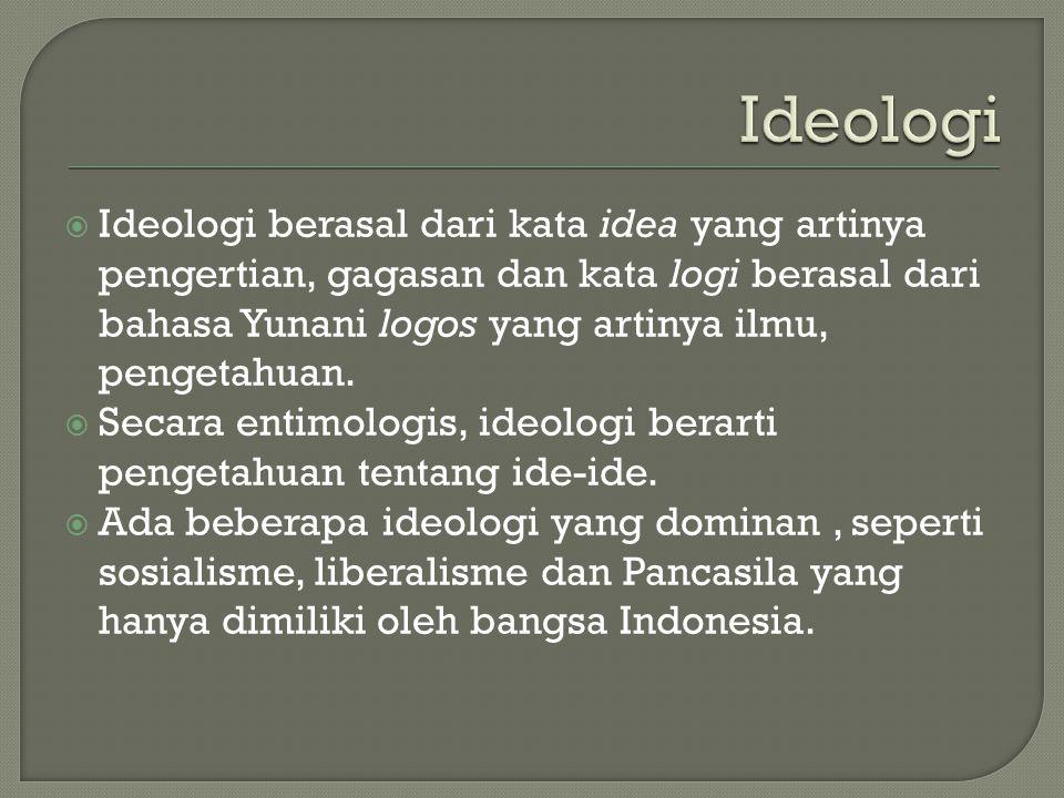 Ideologi berasal dari kata idea yang artinya pengertian, gagasan dan kata logi berasal dari bahasa Yunani logos yang artinya ilmu, pengetahuan.  Se
