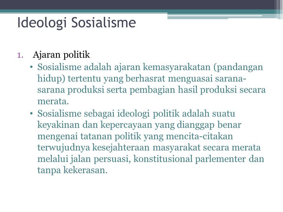2.Ajaran ekonomi Demokrasi ekonomi dan demokrasi sosial dapat ditemukan dalam ideologi sosialisme.