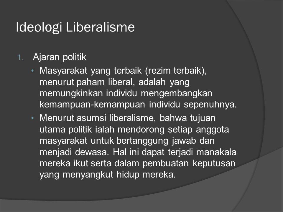 Ideologi Liberalisme 1. Ajaran politik Masyarakat yang terbaik (rezim terbaik), menurut paham liberal, adalah yang memungkinkan individu mengembangkan