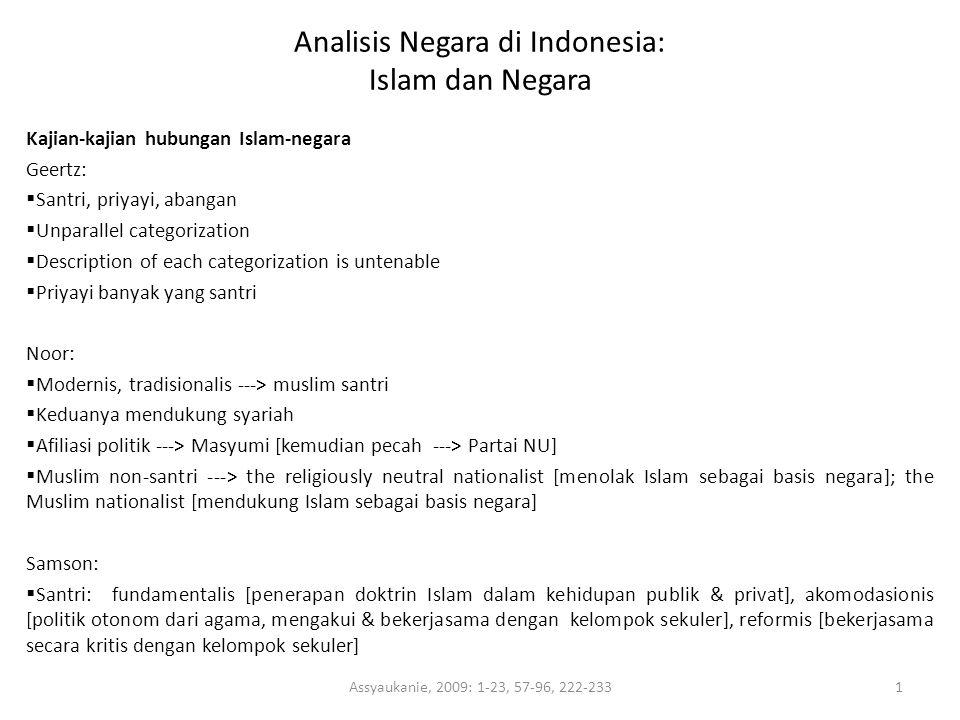 Analisis Negara di Indonesia: Islam dan Negara Kajian-kajian hubungan Islam-negara Geertz:  Santri, priyayi, abangan  Unparallel categorization  De