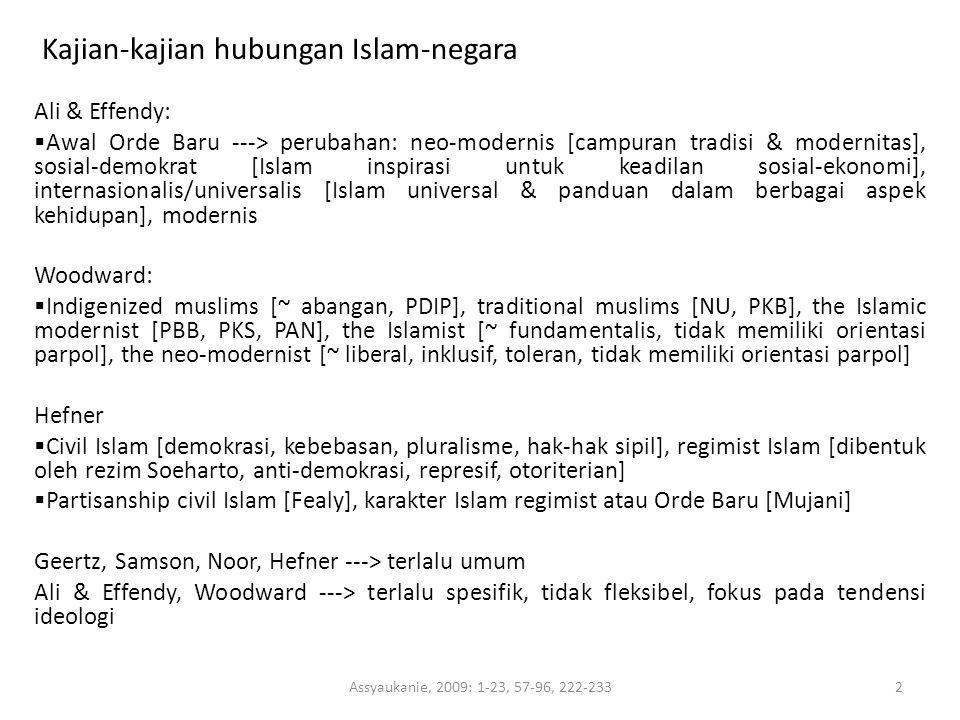 Kajian-kajian hubungan Islam-negara Ali & Effendy:  Awal Orde Baru ---> perubahan: neo-modernis [campuran tradisi & modernitas], sosial-demokrat [Isl