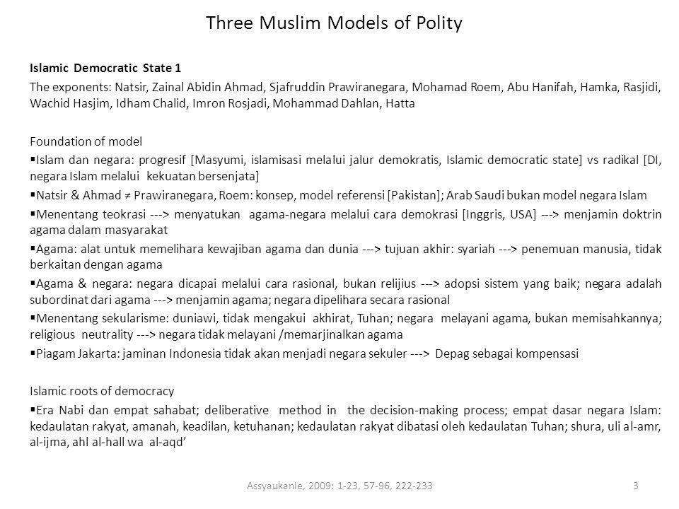 Three Muslim Models of Polity Islamic Democratic State 1 The exponents: Natsir, Zainal Abidin Ahmad, Sjafruddin Prawiranegara, Mohamad Roem, Abu Hanif