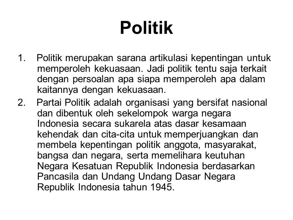 Politik 1. Politik merupakan sarana artikulasi kepentingan untuk memperoleh kekuasaan. Jadi politik tentu saja terkait dengan persoalan apa siapa memp