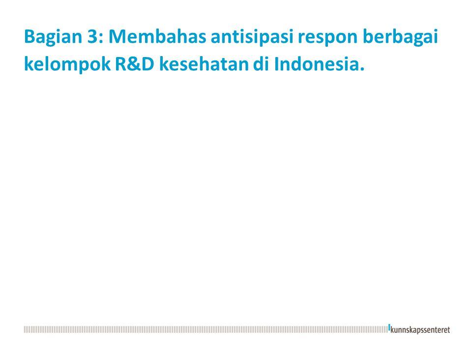 Bagian 3: Membahas antisipasi respon berbagai kelompok R&D kesehatan di Indonesia.