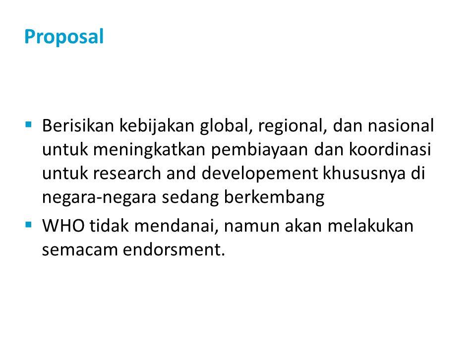 Proposal  Berisikan kebijakan global, regional, dan nasional untuk meningkatkan pembiayaan dan koordinasi untuk research and developement khususnya di negara-negara sedang berkembang  WHO tidak mendanai, namun akan melakukan semacam endorsment.