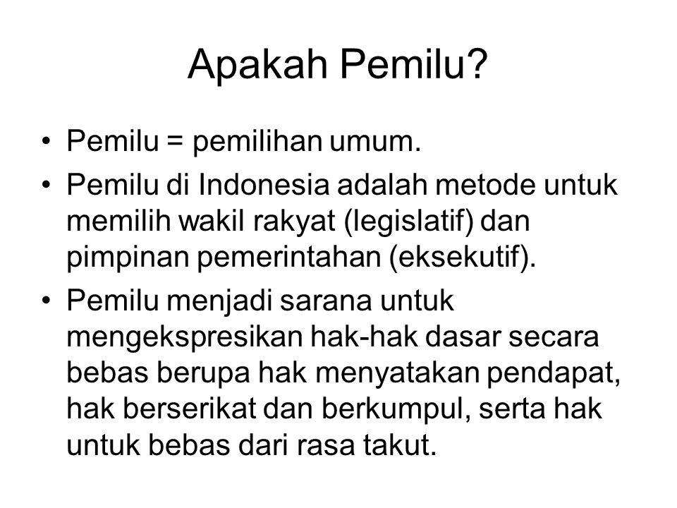 Apakah Pemilu? Pemilu = pemilihan umum. Pemilu di Indonesia adalah metode untuk memilih wakil rakyat (legislatif) dan pimpinan pemerintahan (eksekutif