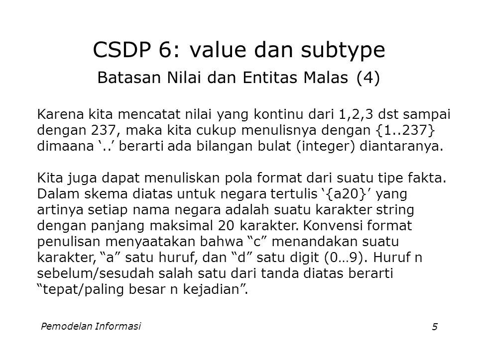Pemodelan Informasi5 CSDP 6: value dan subtype Batasan Nilai dan Entitas Malas (4) Karena kita mencatat nilai yang kontinu dari 1,2,3 dst sampai dengan 237, maka kita cukup menulisnya dengan {1..237} dimaana '..' berarti ada bilangan bulat (integer) diantaranya.